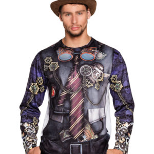 Steampunk T-Skjorte med Lang Arm og Fotorealistisk Print