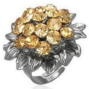 Topaz Bouquet - Oksidert Sølvfarget Ring