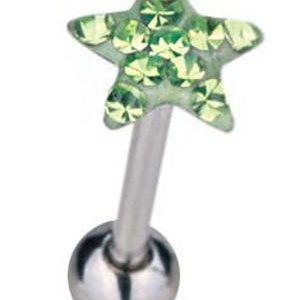 Tungepiercing med Stjerneformet Grønn Toppkule & Stener