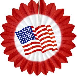 USA Papirvifte med Rød Kant 50 cm